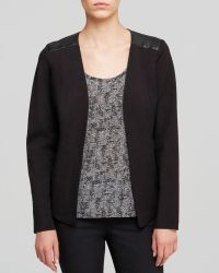 Eileen Fisher Petites Leather Trim Jacket - Lyst