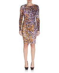 Halston Heritage Square-print Sheath Dress - Lyst