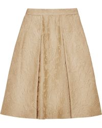 Dolce & Gabbana Pleated Cotton and Silk Blend Jacquard Skirt - Lyst