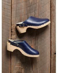 Free People Vintage Blue Wooden Clogs - Lyst