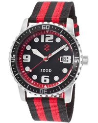 Izod - Men's Eagle Black & Red Nylon Black Dial - Lyst