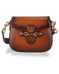 Gucci 'Lady Web' Brown Leather Shoulder Bag - Lyst