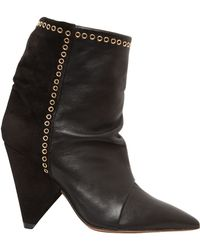 Isabel Marant 90Mm Lance Leather & Suede Ankle Boots - Lyst