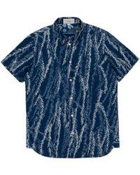 Paul Smith Indigo-Dyed Willow Print Short-Sleeve Cotton Shirt - Lyst