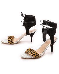 Loeffler Randall Ambrose Mid Heel Sandals - Cheetahblack - Lyst