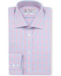 Turnbull & Asser Prince Of Wales Checked Slim-fit Single-cuff Shirt - Lyst