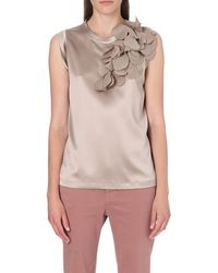 Brunello Cucinelli Leaf Detail Silk Top - Lyst
