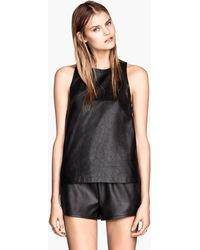 H&M Top in Imitation Leather - Lyst