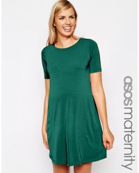 Asos Maternity Shift Dress with Pleat Back - Lyst