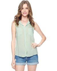 Splendid Sleeveless Shirting Top - Lyst