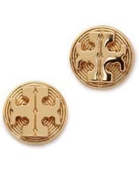 Tory Burch Livia Stud Earrings Shiny Brass - Lyst