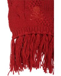 Philipp Plein - Fringed Cable Knit Wool Scarf - Lyst