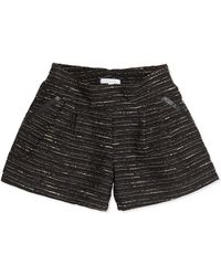 Chloé Shimmer Tweed Pleated Shorts - Lyst