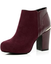 River Island Dark Red Concealed Platform Ankle Boots - Lyst