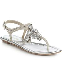 Prada Studded Tassel Metallic Leather Thong Sandals - Lyst