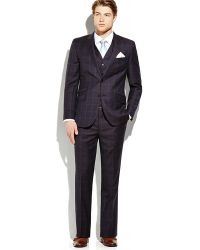 English Laundry Navy 3-piece Two-button Check Suit - Lyst