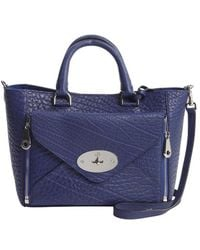 Mulberry Navy Textured Leather Willow Detachable Pocket Convertible Tote - Lyst