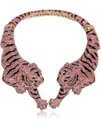 Roberto Cavalli Pink Swarovski Tigre Necklace - Lyst