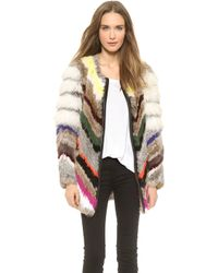 Elizabeth And James Tarra Multi Fur Coat Multi - Lyst