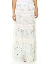 Marchesa Voyage - Tiered Maxi Skirt Day Lily Blue - Lyst