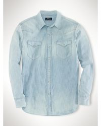 Polo Ralph Lauren Cotton Chambray Western Shirt - Lyst