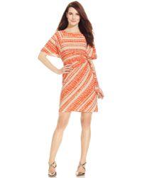Tahari Asl Tribal-Print Faux-Wrap Dress orange - Lyst