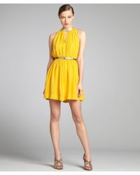 Robert Rodriguez Dandelion and Silver Shirred Silk Chiffon Leather Belted Dress - Lyst