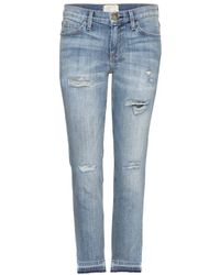 Current/Elliott The Cropped Straight Distressed Jeans - Lyst