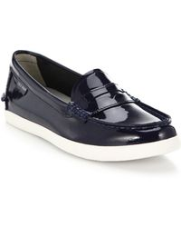 Cole Haan Pinch Weekend Patent Leather Loafers blue - Lyst