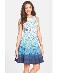 Maggy London Women'S Ombre Print Fit & Flare Dress - Lyst