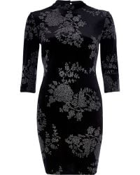 River Island Black Velvet Glittery Floral High Neck Dress - Lyst