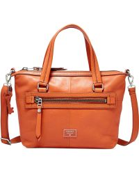 Fossil Dawson Leather Satchel orange - Lyst