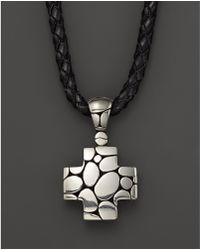 John Hardy | Men's Kali Silver Cross Pendant On Black Leather Cord | Lyst