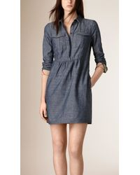Burberry | Gathered Detail Chambray Tunic Dress | Lyst