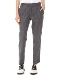 Band Of Outsiders Ankle Pants with Slits Greywhite - Lyst