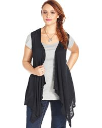 American Rag - Plus Size Hooded Draped Front Vest - Lyst