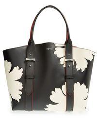 Alexander McQueen Women'S 'Small Legend' Floral Applique Leather Shopper - Black - Lyst