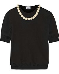 Moschino Cheap & Chic Bead-embellished Wool and Cotton-blend Sweater - Lyst