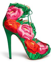 Charlotte Olympia Hibiscus Embroidery Sandal Boots - Lyst
