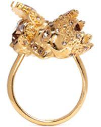 Alexander McQueen King And Queen Skull Ring gold - Lyst