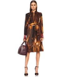 Givenchy Pleated Sheer Lame Silk Dress - Lyst
