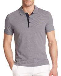 Lacoste Striped Cotton Polo Shirt - Lyst