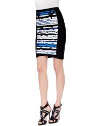 Hervé Léger Vera Striped Ripple Skirt - Lyst