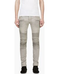 Balmain Grey Slim Distressed Biker Jeans - Lyst