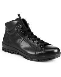 Prada Calfskin Laced Boots - Lyst