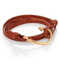 Miansai Matte Gold Hook Shark Leather Bracelet - Lyst