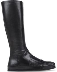 Ann Demeulemeester | Leather Knee-High Comabt Boots | Lyst
