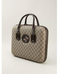 Gucci Signature Monogram Laptop Bag - Lyst