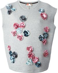 MSGM Appliqué Flowers Sweatshirt - Lyst