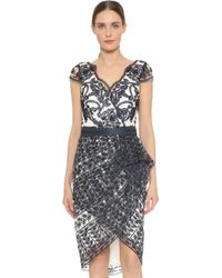 Notte by Marchesa | Cap Sleeve Lace Cocktail Dress - Navy | Lyst